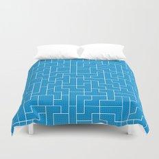 White Tetris Pattern on Blue Duvet Cover