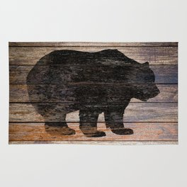 Rustic Bear Silhouette on Wood Country Art A231a Rug