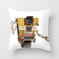borderlands Throw Pillows featuring Borderlands Claptrap Watercolour by DifficultyEasy