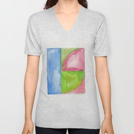 180818 Geometrical Watercolour 1| Colorful Abstract | Modern Watercolor Art Unisex V-Neck
