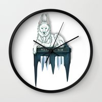 bad wolf Wall Clocks featuring BAD WOLF by Emma Lindkvist