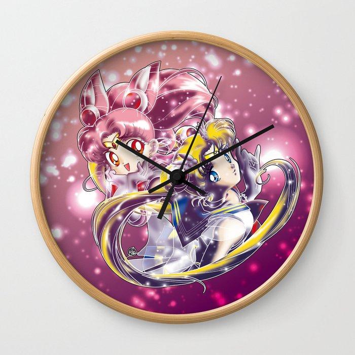 Super Sailor Moon & Chibi Moon (edit 1/B) Wall Clock