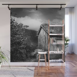 Old Mountain Cabin - Black & White Wall Mural
