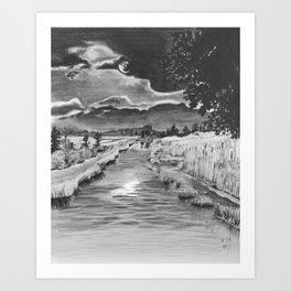 Marsh Moon Art Print