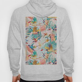 Colorful, Vibrant Paradise Birds and Leaves Hoody