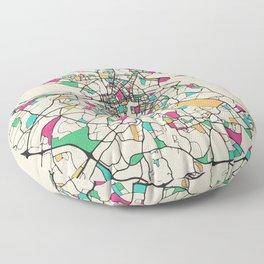 Colorful City Maps: Dublin, Ireland Floor Pillow