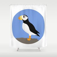 puffin Shower Curtains featuring Horned Puffin by Renata Grieco