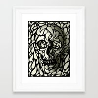 leather Framed Art Prints featuring Skull by Ali GULEC