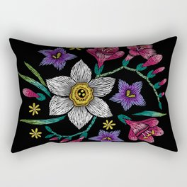 Embroidered Flowers on Black Circle 01 Rectangular Pillow