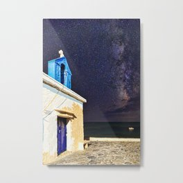 A chapel under the Milky Way in Andros, Greece Metal Print