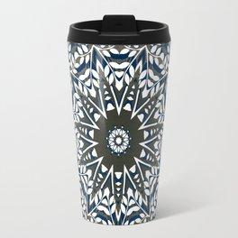 BLUE, GREY AND WHITE MANDALA  Travel Mug