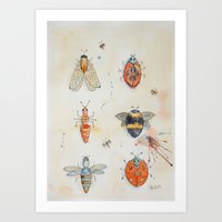 bees Art Prints featuring Bees by ASA Design