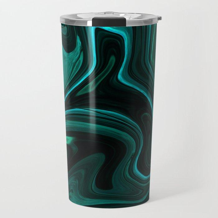 Teal Liquefy Pattern Travel Mug