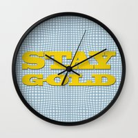 stay gold Wall Clocks featuring Stay Gold by abominable