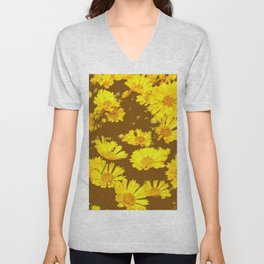 COFFEE BROWN & YELLOW COREOPSIS  FLORAL ART DESIGN Unisex V-Neck