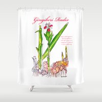 ginger Shower Curtains featuring Ginger Root by Ron Trickett