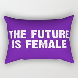 The Future Is Female - Purple and White Rectangular Pillow