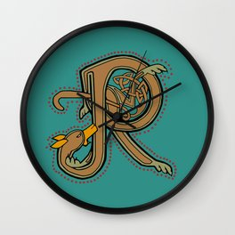 Celtic Hound Letter R 2018 Wall Clock