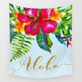 Electric Pop Tropical Flowers Wall Tapestry