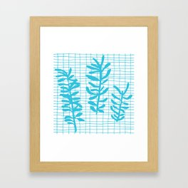 Grid Sprig - aqua blue Framed Art Print