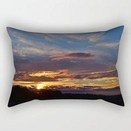 """A sunset is the sun's fiery kiss to the night."" Rectangular Pillow"
