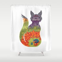 alice in wonderland Shower Curtains featuring Wonderland by Heather Searles