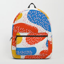 Abstract Orange, Blue & Yellow Memphis Pattern Backpack