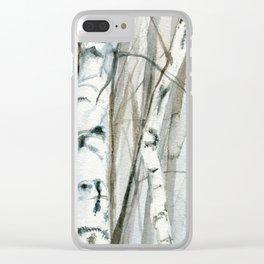 Winter Birch Trees Woodland Watercolor Original Art Print Clear iPhone Case