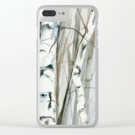 Winter Birch Trees Woodland Watercolor Original Art Print Clear iPhone Case