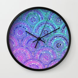 Aqua Blue Purple and Pink Sparkling Glitter Circles Wall Clock