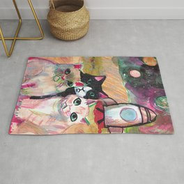 cats going into space to escape humans Rug