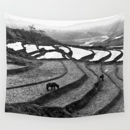 Horses on rice paddies in northern Vietnam Wall Tapestry