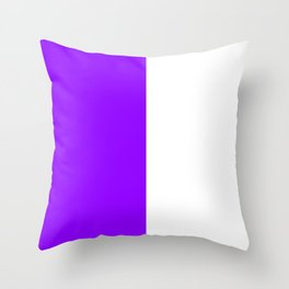 White and Violet Vertical Halves Throw Pillow