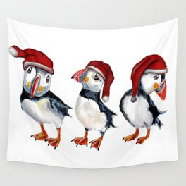 Chrismas Puffins Wall Tapestry