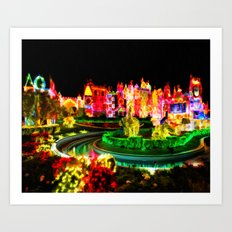 City Lights In Christmas - Painting Style Art Print