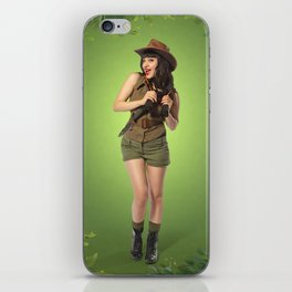 """""""Attention Campers"""" - The Playful Pinup - Jungle Adventure Pin-up Girl by Maxwell H. Johnson iPhone Skin"""
