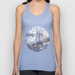 Brooklyn Bridge New York USA Watercolor blue Illustration Unisex Tank Top