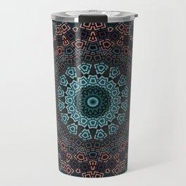 Blue , brown , round , ornament Travel Mug