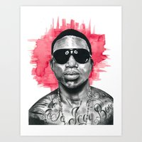 gucci Art Prints featuring Gucci Mane by Nicola MacNeil