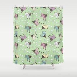 Pajama'd Baby Goats - Green Shower Curtain
