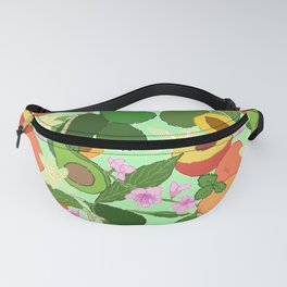 Avocado + Peach Stone Fruit Floral in Mint Green Fanny Pack