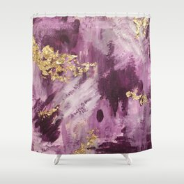 Pink, Purple and Gold Abstract Glam Shower Curtain