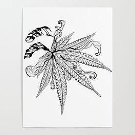 Marijuana leaf with smoke Poster
