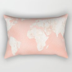 Pink Rose Gold World Map Rectangular Pillow