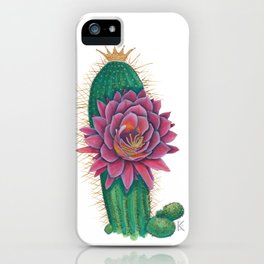 Crowned Cactus with Pink Flower Blossom iPhone Case