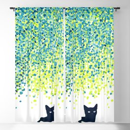 Cat in the garden under willow tree Blackout Curtain