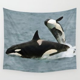Playful Orcas Wall Tapestry
