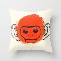 monkey Throw Pillows featuring Monkey by James White