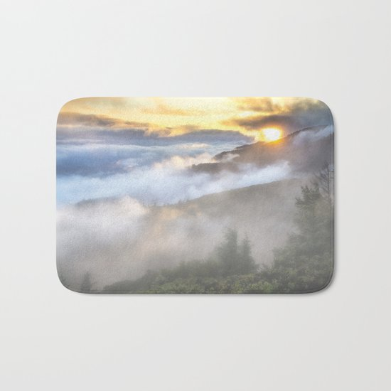 Sunrise and Dust - Mountains - Forest - Wood - Trees - Fog Bath Mat