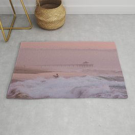 Manhattan Beach Surfer at Sunset Rug
